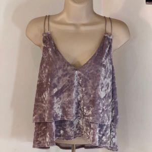 Express Crushed Velvet Cami Crop Top NWT